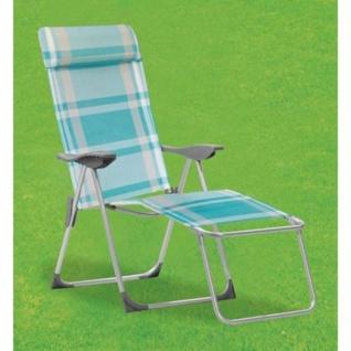 Liegesessel blau weiß Relaxliege Sonnenliege Klappstuhl Gartenstuhl Liegestuhl