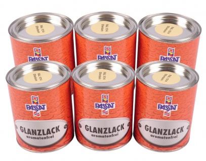 Passat Glanzlack 6 x 750 ml RAL 1014 Elfenbein Decklack Holzlack Lackfarbe Lack