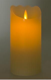 LED-Wachskerze tanzende Flamme 17, 5x8cm mit Timer Stumpe Dekokerze Adventskerze