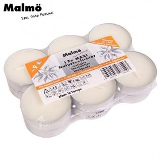 12er-Set Malmö Maxi-Natur-Teelichter 9 Std. Brenndauer XL Kerzen Dekolicht