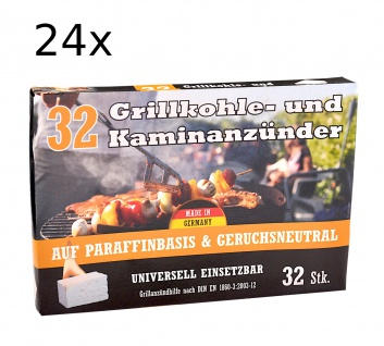 24x Kohleanzünder 32er-Pack Ofenanzünder Grillanzünder Kaminanzünder Anzünder