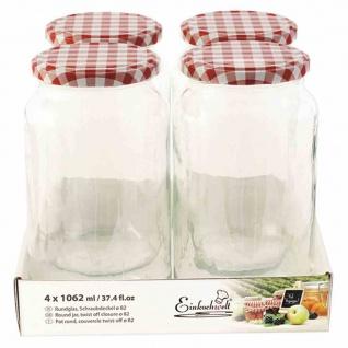 Glas rund TO82 4x1062ml + Schraubdeckel rot/weiß Vorratsgefäße Vorratsglas TOP