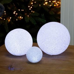 LED-Deko-Schneeball 15cm kaltweiß Lichtkugel Weihnachtsdeko Winterdeko Tischdeko