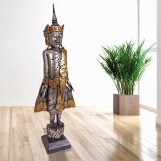 Buddha silber 100cm Dekofigur Skulptur Holzfigur Buddhafigur Statue Thailand