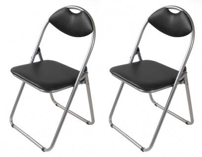 2x Metall Klappstühle schwarz Gästestühle Stuhl Gäste Besucherstuhl Gartenstuhl