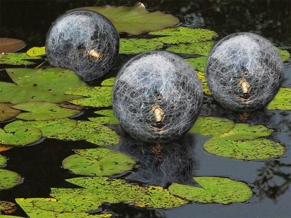 Schwimmende LED Solar Glaskugel 3er Set Teich Garten Deko Schwimmkugel  Leuchte