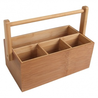 Bambus-Organizer Utensilienbox Stiftebox Besteckkasten Schreibtisch Aufbewahrung
