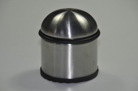 2 x Türstopper aus Edelstahl rund mit einem Gummiring