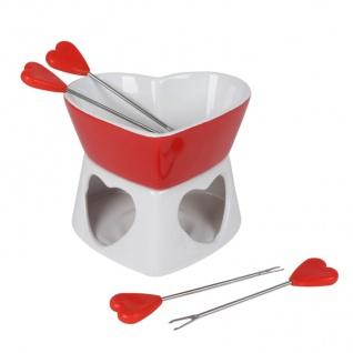 Schokoladenfondue-Set aus Keramik 6-teilig Schoko Fondue 4 Fonduegabeln Herzform - Vorschau 2