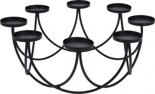 Lichterkranz aus Metall 30 x11, 5cm Schwarz Tischkranz Kerzenständer Kerzenhalter