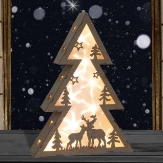 LED-Tanne Holo-Effekt Fensterdeko Winterdeko Echtholz Dekotanne Weihnachtsbaum