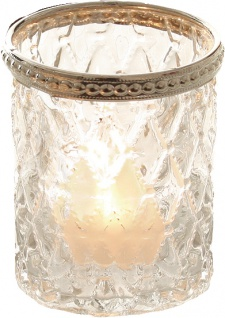 DRAGIMEX TEELILCHTGLAS Teelichtglas 57382 Metallrand