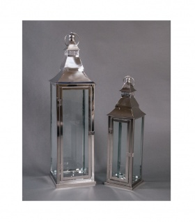 Edelstahl Laternen 2er-Set Gartenlaterne Hängelaterne Windlicht Kerzenhalter