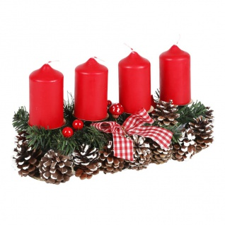 Adventsgesteck 35x15cm Weihnachtsgesteck Weihnachtsdeko Adventskranz Adventsdeko