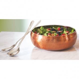 Salatschüssel-Set kupfer Hammerschlag Salatschale Salatbesteck Servierschüssel