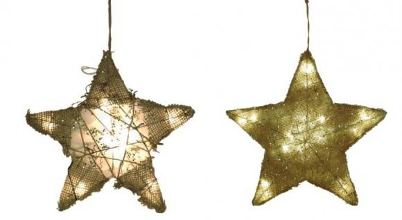 Jute-Weihnachtsstern versch. Größen mit LED´s
