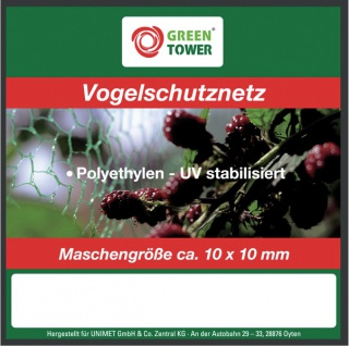 """GREEN TOWER GT Vogelschutznetz ,, Basic"""" Vogelschutz- Netz 10x4m 6mm"""