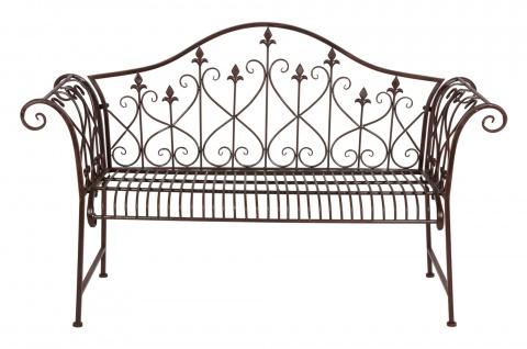 Rustikale Metall-Gartenbank rostbraun 2-Sitzer Sitzbank Vintage Antik Gartendeko