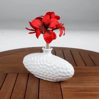 Keramik Vase oval weiß Blumenvase Dekovase Tischdeko Keramikvase Dekoration - Vorschau 3