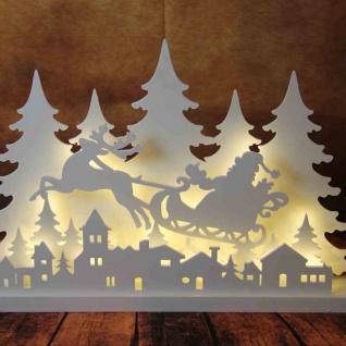 LED-Holz-Silhouette 42cm Weihnachtsmann auf Schlitten Weihnachtsdeko Gartendeko