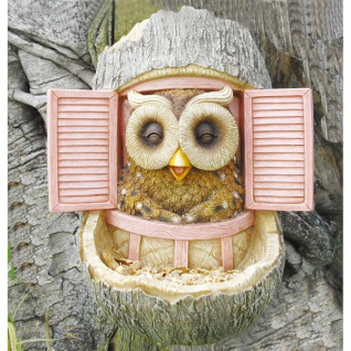 Baumstammdeko mit Vogelfutterstation Eule Vogelfutterstelle Vogelfutterspender