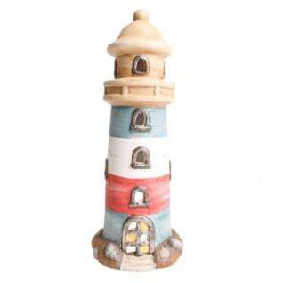 Keramik Leuchtturm 32cm maritim Teelichthalter Badezimmerdeko Keramikfigur Deko