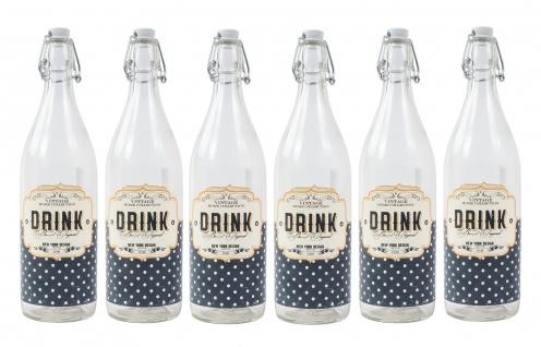 Retro Drahtbügelflasche 6x 1L Bügelverschluss Wasserflasche Trinkflasche Flasche