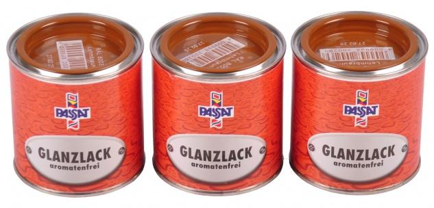 Passat Lack 3x 0, 25 L lehmbraun glänzend RAL 8003 Metall Holz Glanzlack Decklack