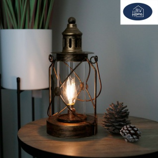 Deko-Laterne mit LED Glühbirne Sturmlaterne Metalllaterne Dekolicht Nachtwächter