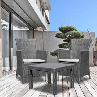 Balkon Sitzgruppe Graphit Balkonmöbel Terrassenmöbel Gartenmöbel Rattanmöbel - Vorschau 2