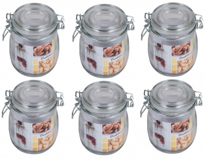 6er-Set Drahtbügelglas 0, 5L Einmachgläser Einweckglas Vorratsglas Marmeladenglas