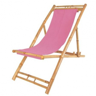 Bambus Relax Liegestuhl Pink Strandstuhl Terrassenliege Gartenstuhl 60x135cm