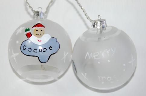 Christbaumkugeln mit LED 10er Merry X Mas Aufschrift