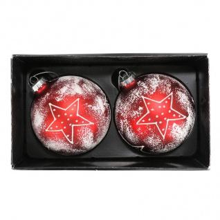 Glas-Weihnachtsbaumkugeln Stern 2er-Set Christbaumschmuck Weihnachtsdeko 9cm