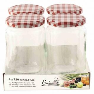 Glas rund TO82 4x720ml + Schraubdeckel rot/weiß Vorratsgefäße Vorratsglas kochen