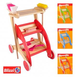 Blizzi Holz Kinder Spielzeug Putzwagen mit Besen Handfeger Ziehwagen Trolley