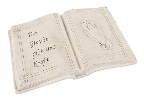 Grab-Spruchstein Buch mit Aufschrift betende Hände Grabdekoration Grabschmuck