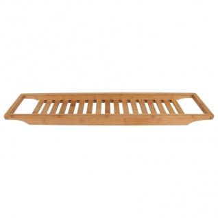 Bambus-Badewannentablett 64x15cm Wannenaufsatz Holz Ablage Baddeko Wannenbrücke - Vorschau 2