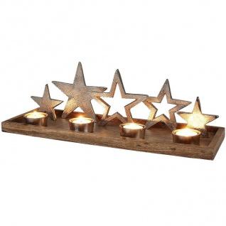 Weihnachtliches Dekotablett Sternenglanz Tischdeko Teelichthalter Holztablett