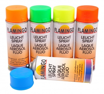 Flamingo Leuchtspray 0, 4l Leuchtfarbe Farbspray Neonfarbe Markierungsspray Acryl