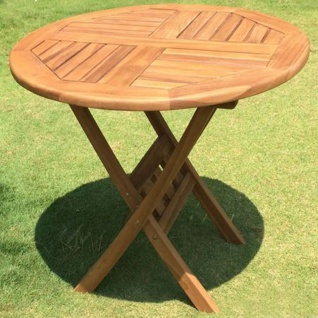 Gartentisch 80cm Teak Holz Klapptisch Balkontisch Terrassentisch Campingtisch