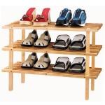 Schuhregal mit 3 Ablagen Pinienholz unbehandelt Schuhschrank Schuhständer Regal