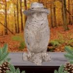 Deko-Eule mit Cowboyhut Tierfigur Eulenfigur Gartendeko Winterdeko Hut Uhu Kauz