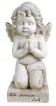 Grab-Spruchstein kniender Engel 48cm Grabschmuck Gedenkstein Gartenfigur Statue