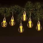 Lichterkette mit 6 LED-Glühbirnen und Timer Leuchtdeko Girlande orange-warmweiß