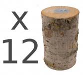 12er Set Holz-Nordlicht Schwedenfeuer Kerze Partylicht Deko Baumstammfackel