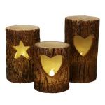 LED-Windlichter Baumstamm 3er-Set Weihnachtskerzen Dekokerze Wachskerze Kerzen