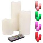 3er-Set LED-Wachskerzen mit Farbwechsler & Fernbedienung flackernd Stumpenkerze