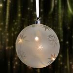 LED-Glas-Weihnachtsbaumkugel 15cm Weihnachtsdeko Christbaumschmuck Eiskristalle