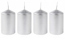 Metallic-Stumpenkerzen silber 4er-Set Adventskerzen Weihnachtskerzen Tischdeko